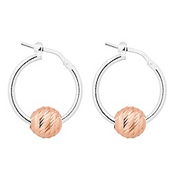 Simply Silver - Sterling silver and rose gold ball hoop earring