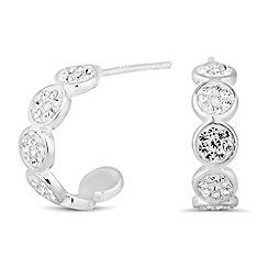 Simply Silver - Sterling silver crystal encased disc hoop earring
