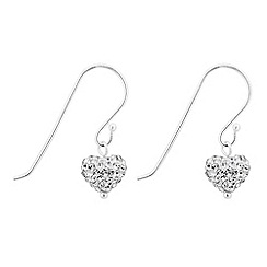 Simply Silver - Sterling silver crystal heart drop earring