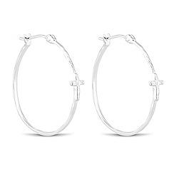 Simply Silver - Sterling silver cross embellished hoop earring