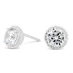 Simply Silver - Sterling silver round cubic zirconia stud earring