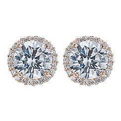 Simply Silver - Rose gold plated peach pave surround earring