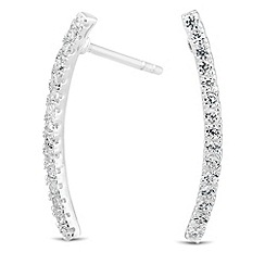 Simply Silver - Sterling silver cubic zirconia encased curved bar earring