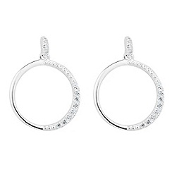 Simply Silver - Sterling silver cubic zirconia disc drop earring