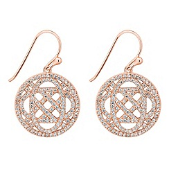 Simply Silver - Sterling silver signature rose gold open disc drop earring