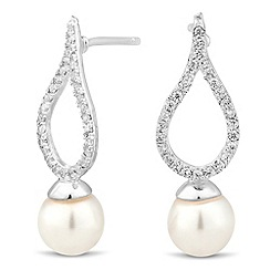 Simply Silver - Sterling silver signature crystal top pearl drop earring
