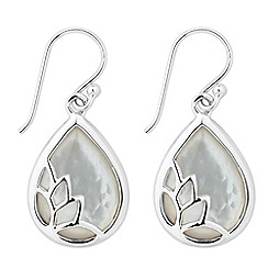 Simply Silver - Signature mother of pearl teardrop earring with petal overlay