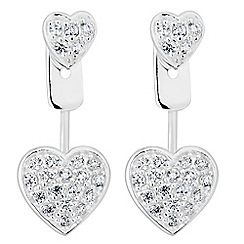 Simply Silver - Sterling silver pave heart lobe earring