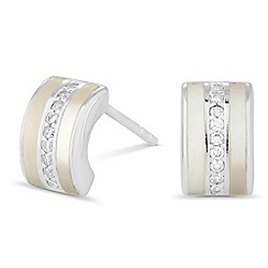 Simply Silver - Sterling silver mother of pearl barrel earring