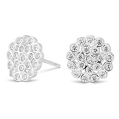 Simply Silver - Sterling silver cubic zirconia cluster disc earring