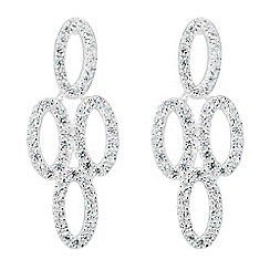 Simply Silver - Sterling silver oval pave cubic zirconia chandelier earring