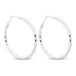 Simply Silver - Sterling silver diamond cut chequerboard hoop earring
