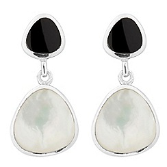 Simply Silver - Sterling silver onyx and mother of pearl drop earring