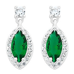 Simply Silver - Green cubic zirconia marquise sterling silver drop earring