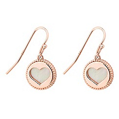 Simply Silver - Rose gold plated sterling silver mother of pearl heart cut out earring