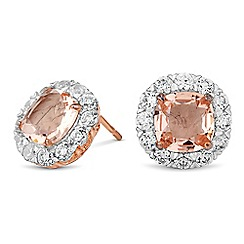 Simply Silver - Rose gold plated sterling silver cubic zirconia cluster earring