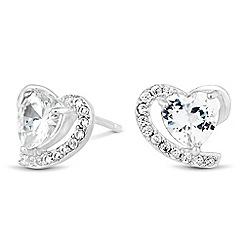 Simply Silver - Sterling silver cubic zirconia heart swirl stud earring