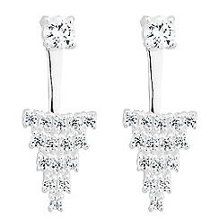 Simply Silver - Sterling silver front back cubic zirconia cluster earring
