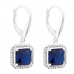Simply Silver - Blue cubic zirconia sterling silver halo drop earring