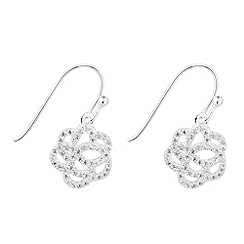 Simply Silver - Sterling silver cubic zirconia pave flower drop earring
