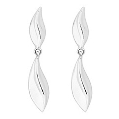 Simply Silver - Sterling silver leaf drop earring