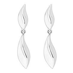 Simply Silver - Sterling silver leaf drop earring