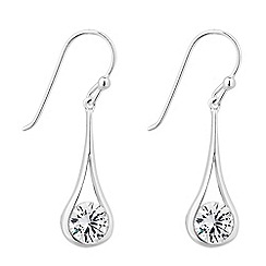 Simply Silver - Sterling silver floating cubic zirconia teardrop earring