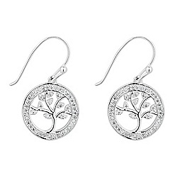 Simply Silver - Sterling silver cubic zirconia tree of life earring