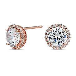 Simply Silver - Rose gold sterling silver cubic zirconia pave surround stud earring