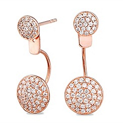 Simply Silver - Rose gold plated sterling silver pave disc front and back earring