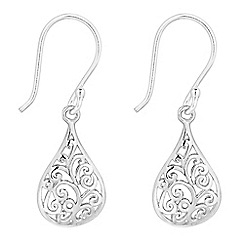 Simply Silver - Sterling silver filigree teardrop earring