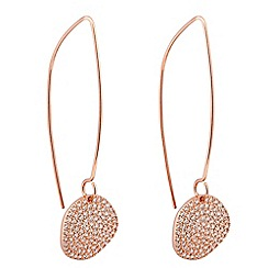 Simply Silver - Rose gold plated sterling silver pave disc earring