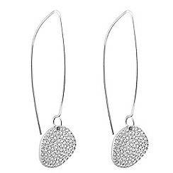Simply Silver - Sterling silver pave disc earring