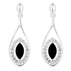 Simply Silver - Sterling silver onyx and cubic zirconia teardrop earrings