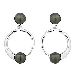 Simply Silver - Sterling silver black pearl disc drop earring