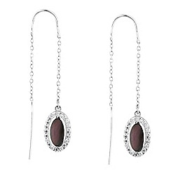 Simply Silver - Sterling silver oval mother of pearl drop earring