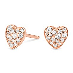 Simply Silver - Sterling silver rose gold pave heart stud earring