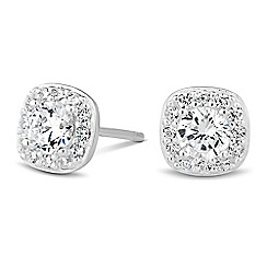 Simply Silver - Sterling silver cubic zirconia pave surround earring