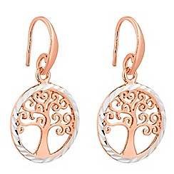 Simply Silver - Rose gold plated sterling silver tree of life earring