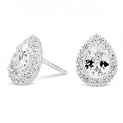 Simply Silver - Sterling silver cubic zirconia peardrop cluster stud earring