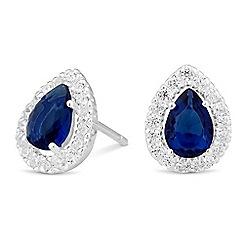 Simply Silver - Sterling silver blue cubic zirconia peardrop stud earring