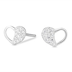 Simply Silver - Sterling silver pave open heart stud earring
