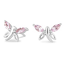 Simply Silver - Sterling silver pink cubic zirconia butterfly earring