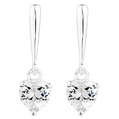 Simply Silver - Sterling silver cubic zirconia heart bar drop earring