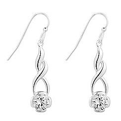Simply Silver - Sterling silver cubic zirconia swirl drop earring