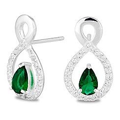 Simply Silver - Sterling silver green cubic zirconia peardrop stud earring