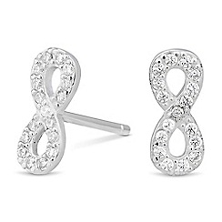Simply Silver - Sterling silver mini infinity cubic zirconia stud earring
