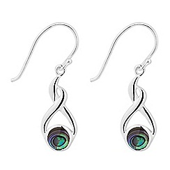 Simply Silver - Sterling silver abalone twist drop earring