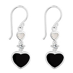 Simply Silver - Sterling silver mother of pearl double drop heart earring
