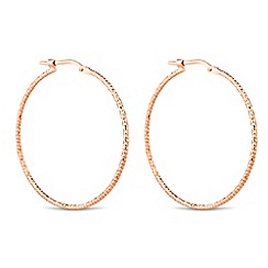 Simply Silver - Rose gold plated sterling silver textured hoop earring